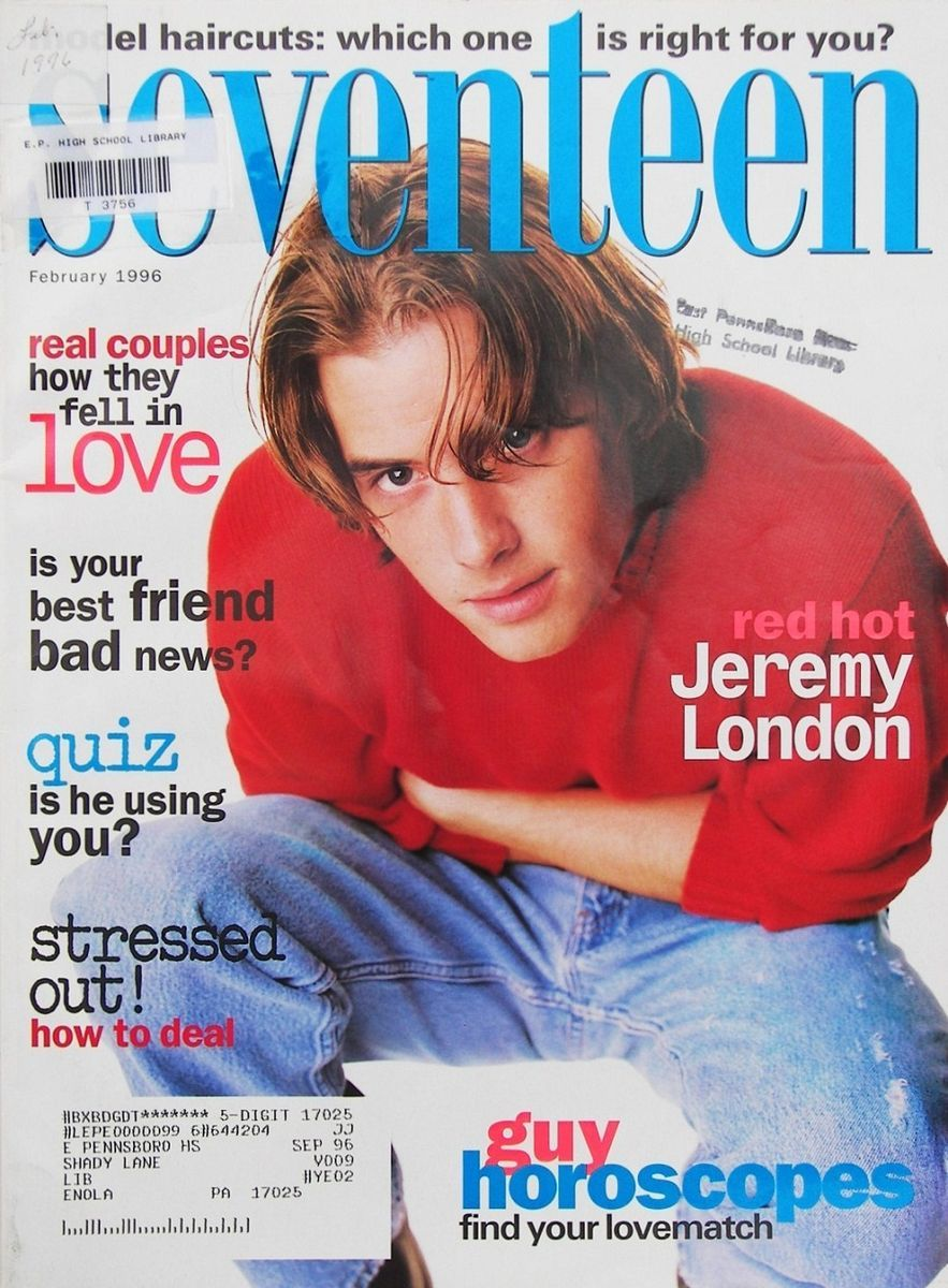 Seventeen Magazine February 1996 Jeremy London
