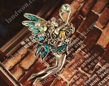 Jewelry Retro Rhinestone Angel Wings Girl Color Pin Brooch