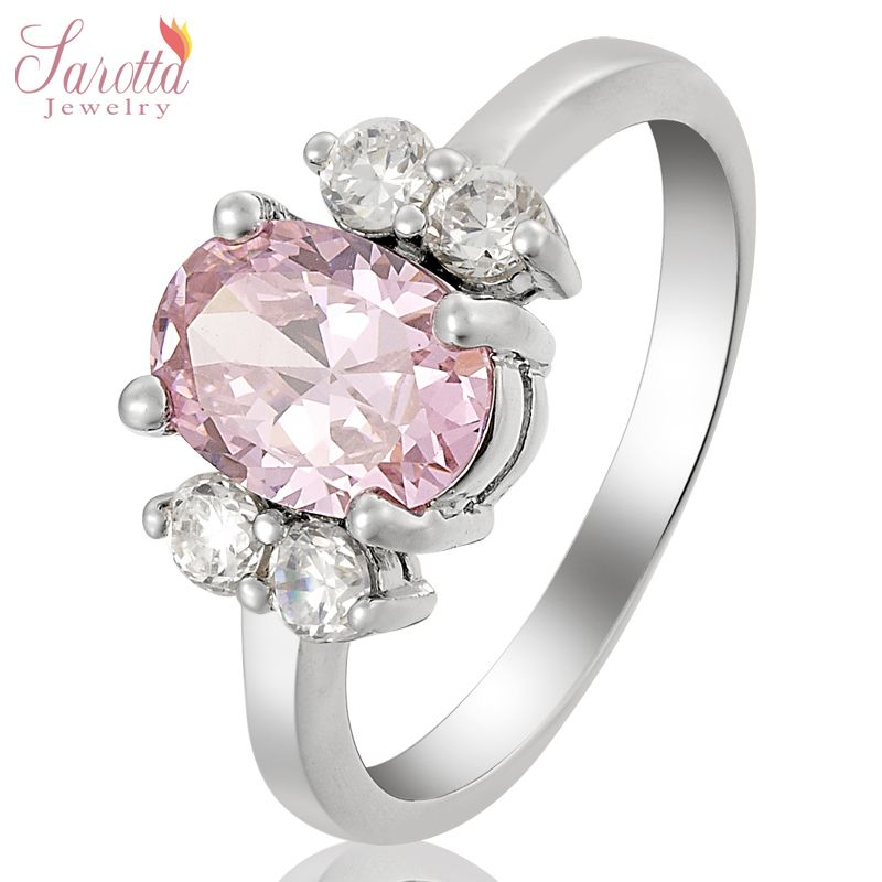 Lady Fashion Jewelry Pink Sapphire White Gold GP Cocktail Gem Ring 8 Q