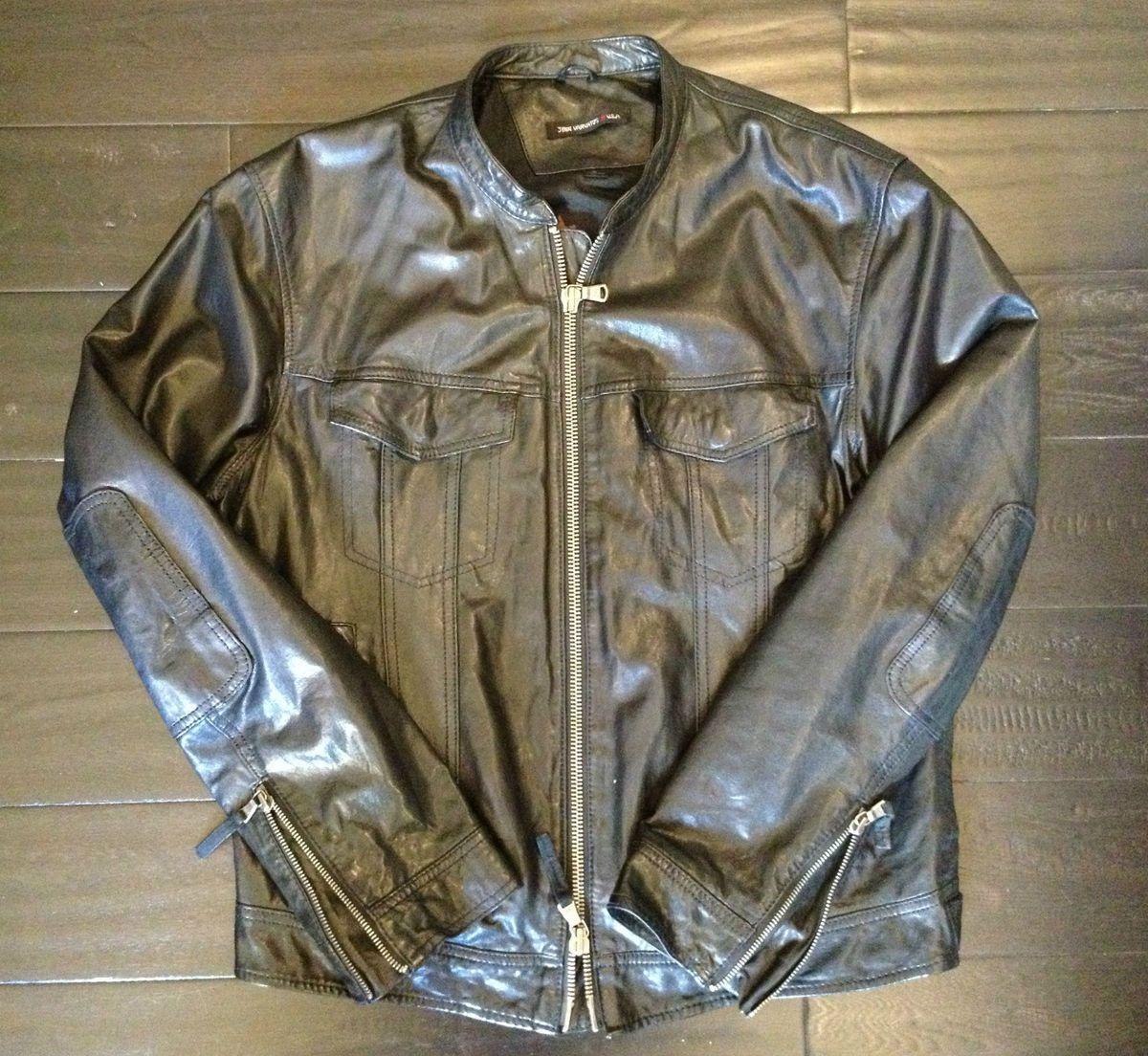 JOHN VARVATOS USA Mens Black Leather Motorcycle Racer Jacket Size M 998