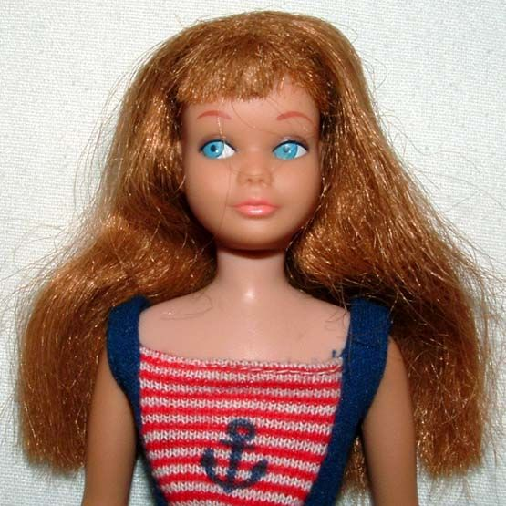 1960s BARBIE MATTEL REDHEAD BENDABLE LEG SKIPPER DOLL w 3465 SWEET ORANGE OUTFIT
