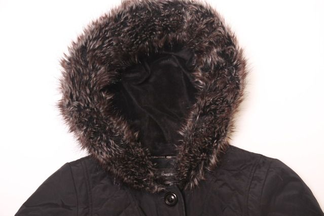S Jones New York Black Faux Fur Trim Hooded Quilted Belted Puffer Jacket Coat