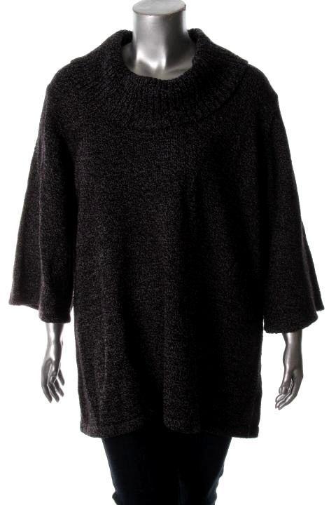 Karen Scott NEW Black White Marled Cowl Neck Tunic Sweater Plus 2X