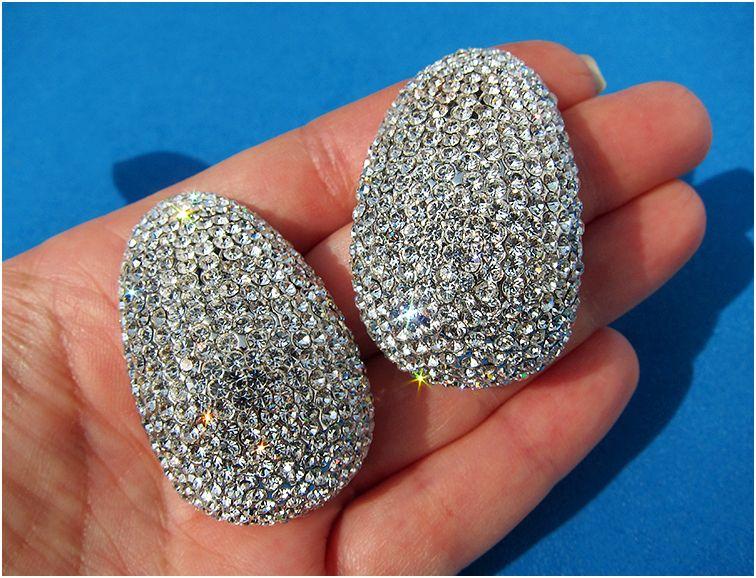 New Huge Jarin Kasi Swarovski Crystal Rhinestone Earrings Silver Base