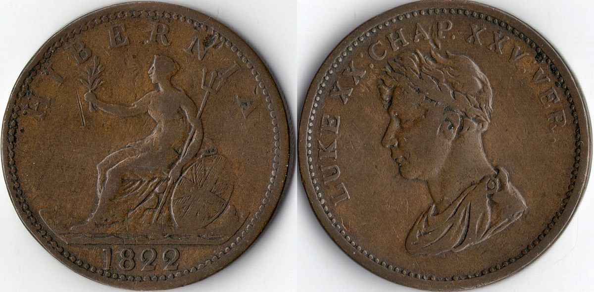 Ireland Hibernia large copper penny token coinage 1822 King George IV