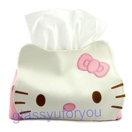 New Cute Hello Kitty Tissue Kleenex Box Cover Holder
