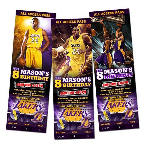 La Lakers Birthday Party Invitation Ticket Custom Card Basketball Any