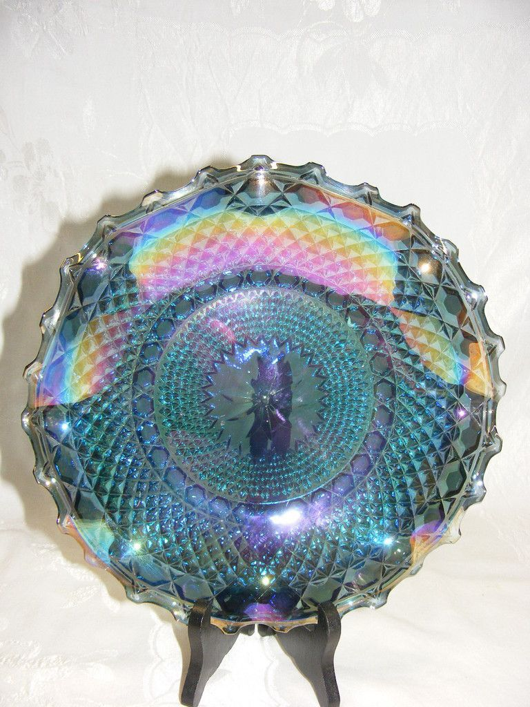 Vintage Carnival Glass Blue Hostess Plate Diamond Point Indiana