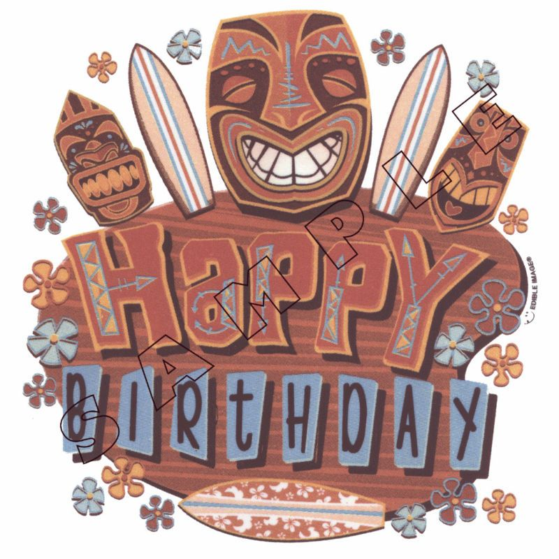 Happy Birthday Luau Edible Cake Topper Decoration Image