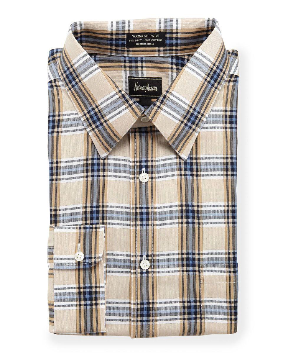 No Iron Plaid Dress Shirt Brown White