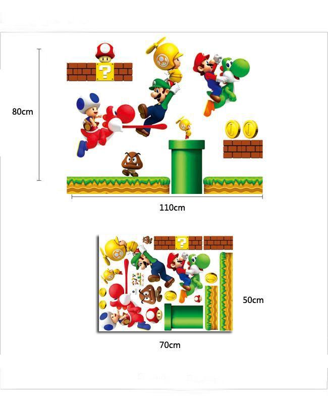 New Super Mario Bros Kids Removable Wall Sticker PVC Home Decor
