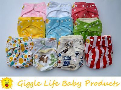 10x Giggle Life Bamboo One Size Cloth Diapers & 20x Bamboo Pads AIO 8