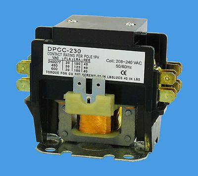 DEFINITE PURPOSE CONTACTOR 2 POLE 30 AMP COIL 240V A/C HEAT PUMP TRANE