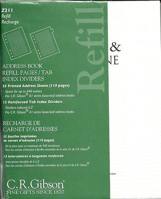newly listed c r gibson a1 series address book refill pages tab