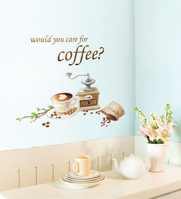 Coffee Love Adhesive Removable Wall Home Decor Accents Stickers Decal