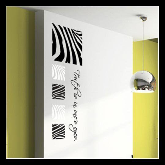 Set of 5 Zebra Stripe Pattern Removable Vinyl Wall Art Sticker Decal