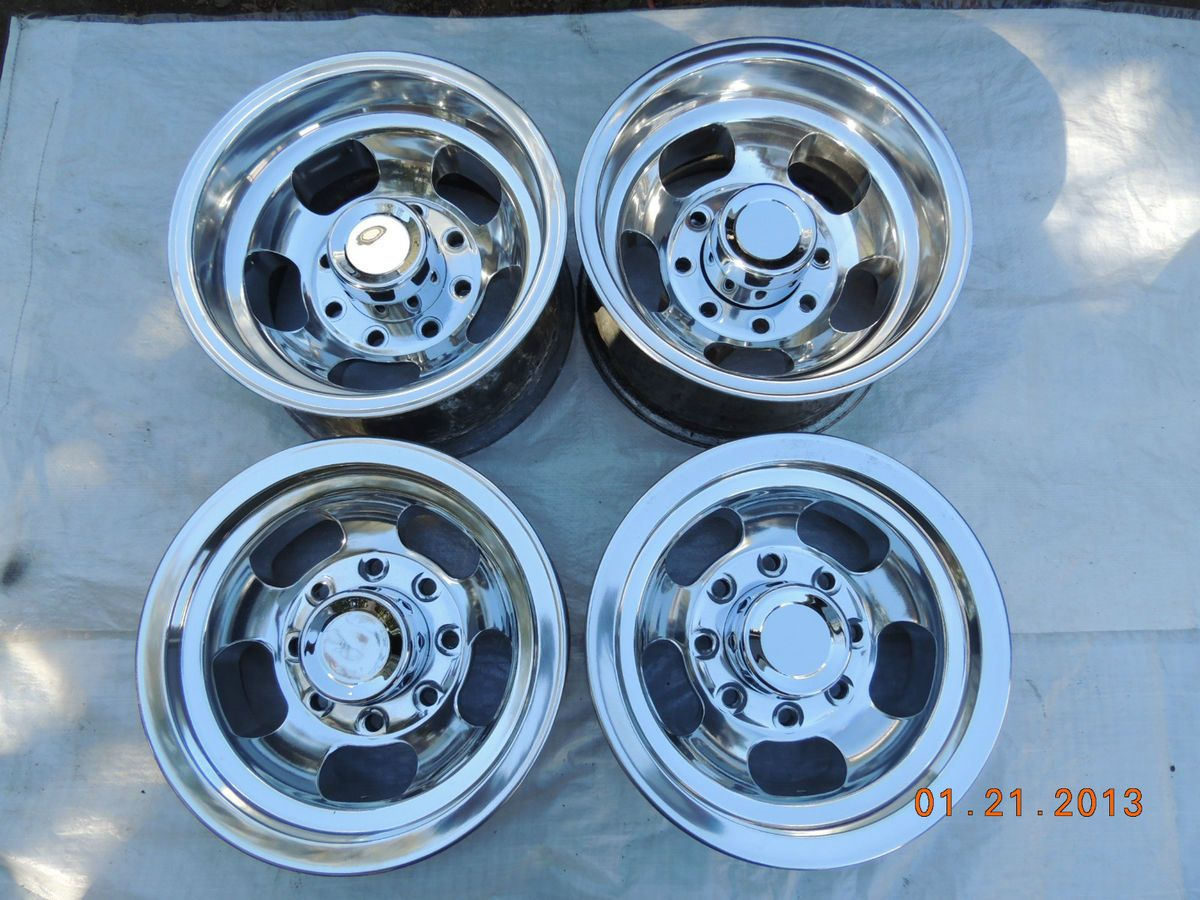 JUST POLISHED 8 LUG SLOT MAG WHEELS 15 CHEVY TRUCK DODGE FORD VAN MAGS