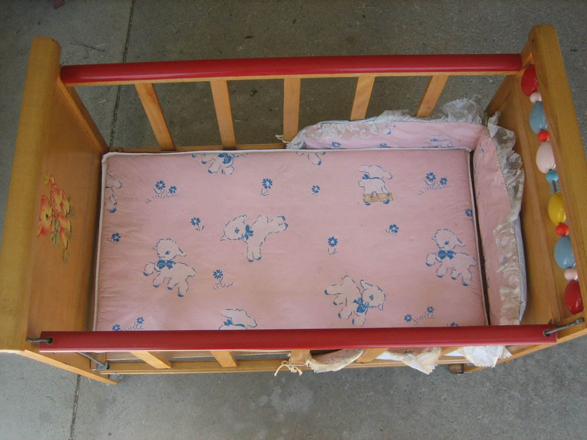 1950s Baby Doll Bed Crib with Wheels Made by Whitney Bros Co