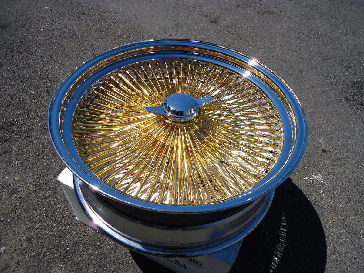 DAYTON Gold & Chrome 18x8 Wire Wheels Full Set Rims knockoff Lowrider