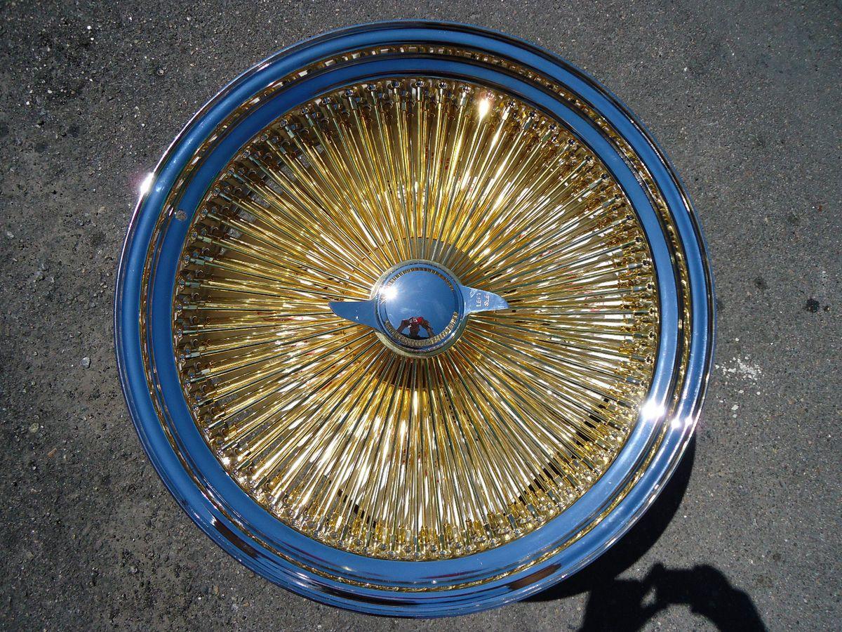 Chrome 17x8 Wire Wheels Rims Knockoffs Triple Gold 100 Spoke