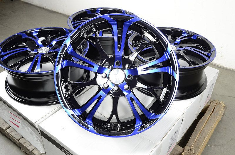 17 Blue Effect Wheels Rims 4 Lugs Ford Escort Honda Civic Accord